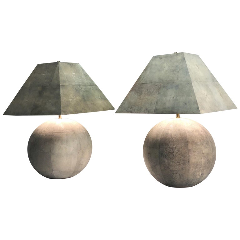 Karl Springer Rare and Monumental Shagreen Pair of Table Lamps For Sale