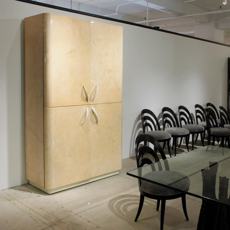 Karl Springer Rare Cabinet in Lacquered Goatskin with Horn Handles, 1970s For Sale 5