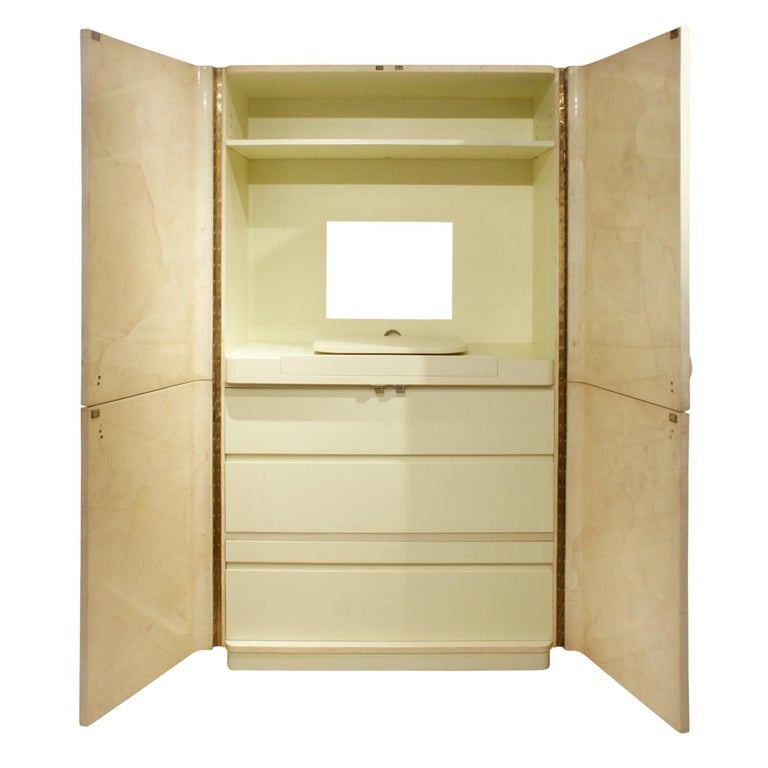 American Karl Springer Rare Cabinet in Lacquered Goatskin with Horn Handles, 1970s For Sale