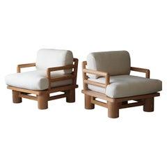 "Karl Springer, Rare ""Dowelwood"" Lounge Chairs, Oak, Fabric, circa 1975, America"