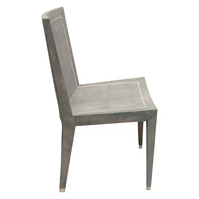 Mid-Century Modern Karl Springer Rare JMF Chair in Shagreen with Bone Inlays 1980s 'Signed' For Sale
