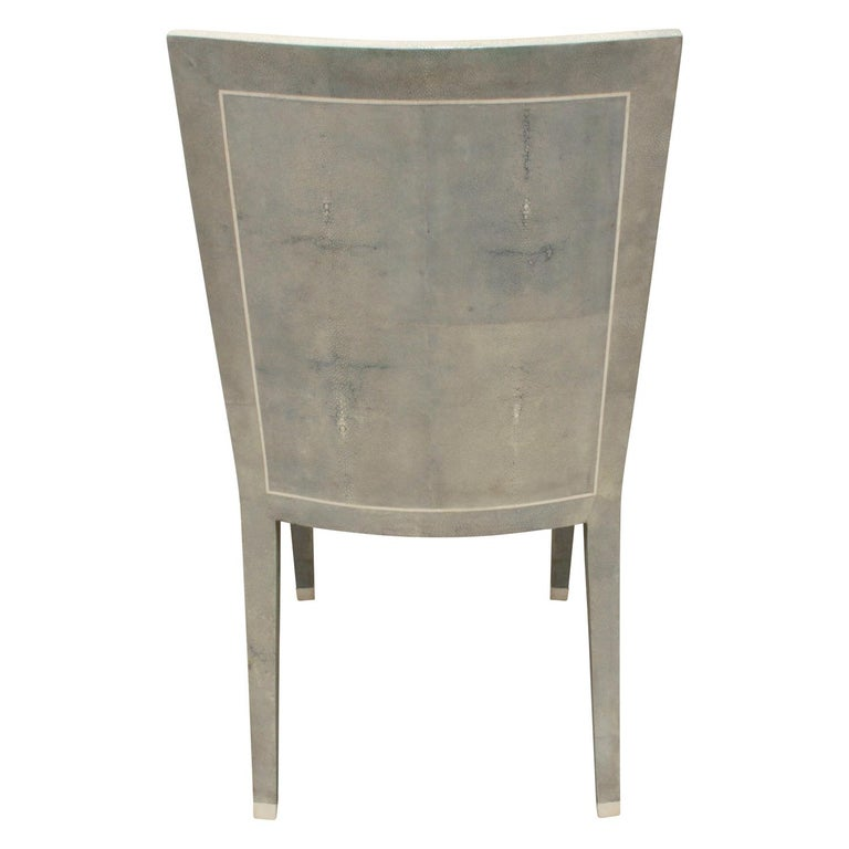 American Karl Springer Rare JMF Chair in Shagreen with Bone Inlays 1980s 'Signed' For Sale