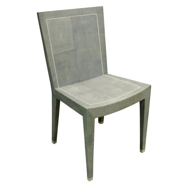 Karl Springer Rare JMF Chair in Shagreen with Bone Inlays 1980s 'Signed' For Sale