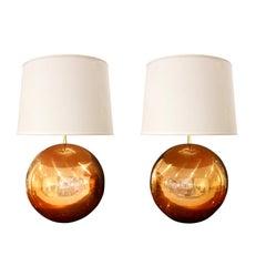 """Karl Springer Rare Pair of Copper """"Metal Ball Lamps"""", 1980s"""