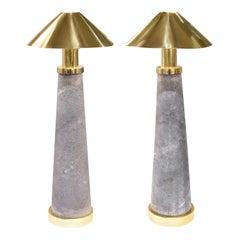"Karl Springer Rare Pair of ""Lighthouse Lamps"" in Shagreen and Brass, 1980s"
