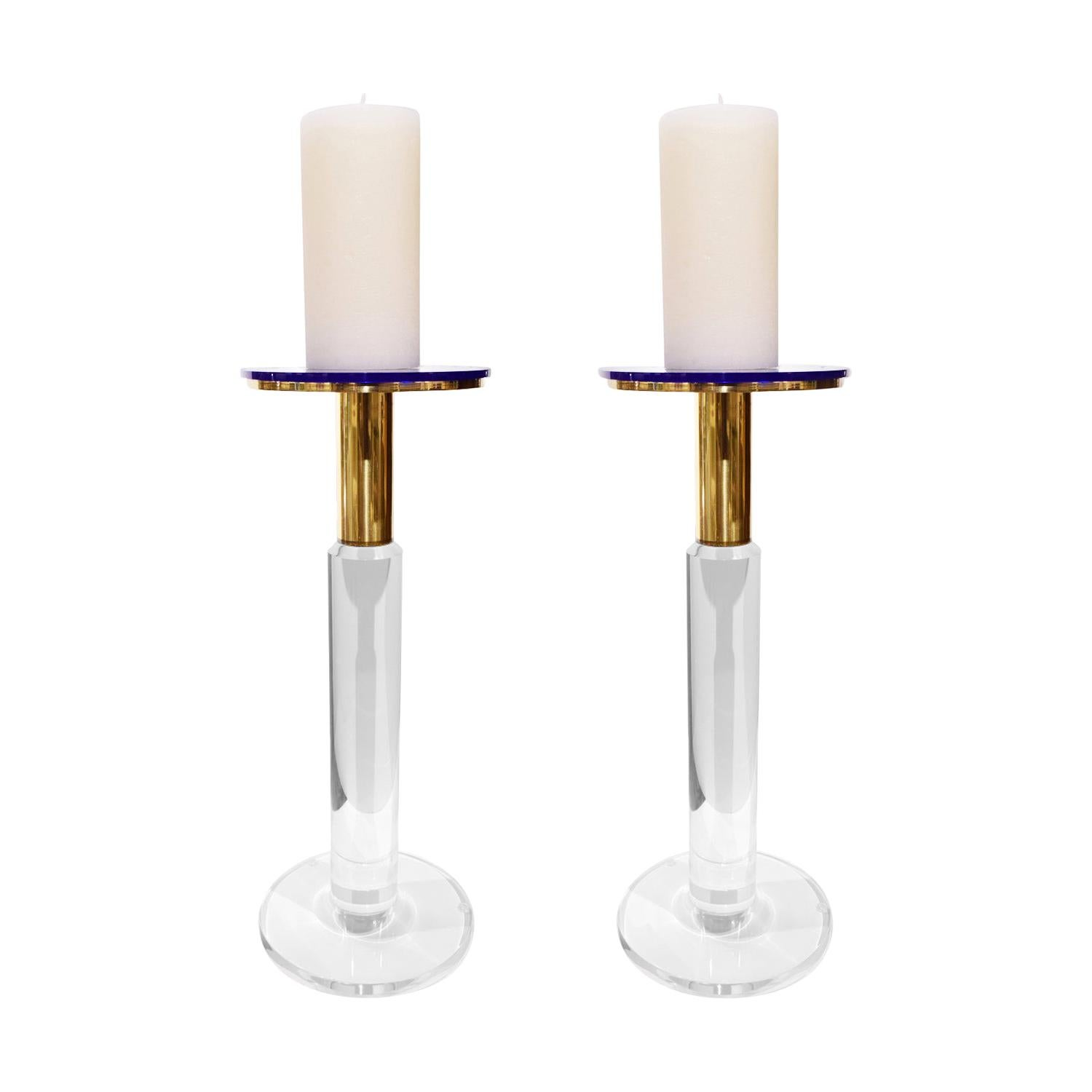 Karl Springer Rare Prototype Candleholders in Lucite and Brass circa 1985, Pair