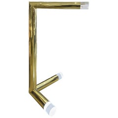 """Karl Springer Rare """"Sculpture Floor Lamp"""" in Brass and Lucite, 1970s"""