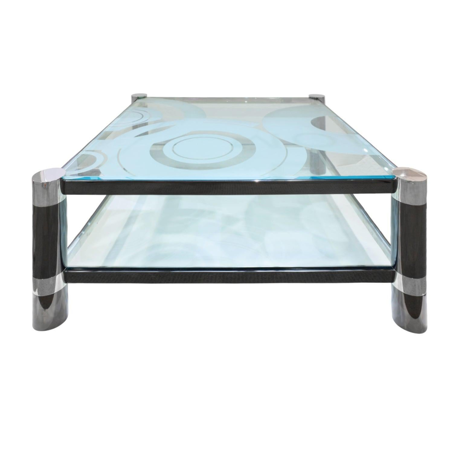 """Karl Springer """"Round Leg Coffee Table"""" with Artisan Etched Glass 1980s 'Signed'"""