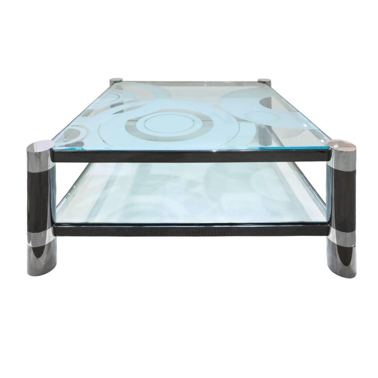 """Karl Springer """"Round Leg Coffee Table"""" with Artisan Etched Glass 1980s 'Signed' For Sale"""