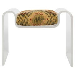 Karl Springer Sculptural Molded Lucite Bench with Seat Cushion, 1970s