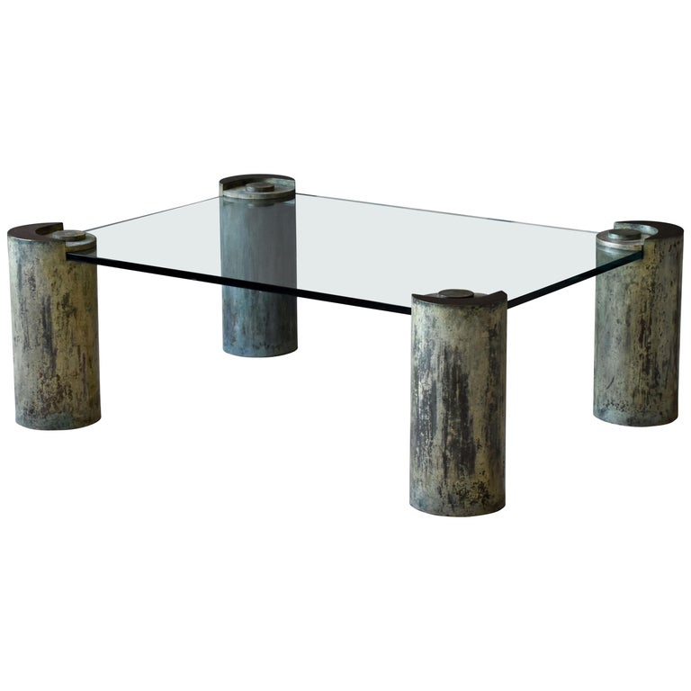 """Karl Springer, """"Sculpture Leg"""" Coffee Table, Glass, Patinated Brass, Studio For Sale"""