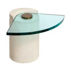 """Karl Springer """"Sculpture Table"""" in Sandstone and Bronze, 1985"""