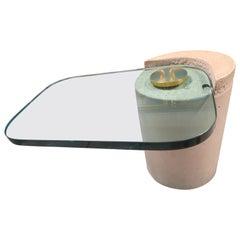 Karl Springer Sculpture Table Sandstone Cantilever 1980s Glass Brass Modern