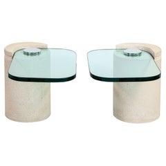 "Karl Springer ""Sculpture Tables"" in Sandstone and Glass 1980s"