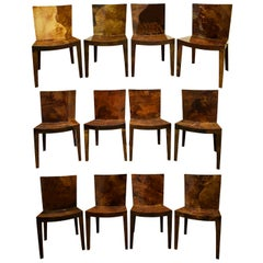 "Karl Springer Set of 12 ""JMF Dining Chairs"" in Lacquered Goatskin, 1980"