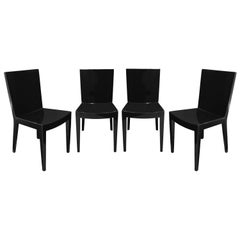 """Karl Springer Set of 4 """"JMF Chairs"""" in High Gloss Black Lacquer, 1980s"""