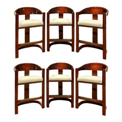 "Karl Springer Set of 6 ""Onassis Bar Stools"" in Lacquered Mahogany, 1970s"