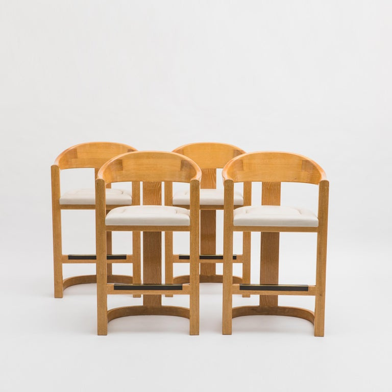 "Karl Springer, Set of Four ""Jackie O"" Barstools, USA, c. 1980's For Sale"
