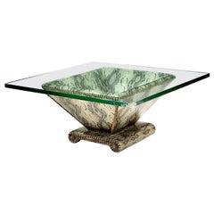 Karl Springer Snake-Textured Leather and Bronze Regency Modern Cocktail Table