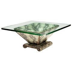 Karl Springer Snake-Textured Leather and Bronze Regency Modern Cocktail Table