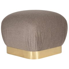 "Karl Springer ""Souffle Ottoman"" with Brass Base, 1970s"