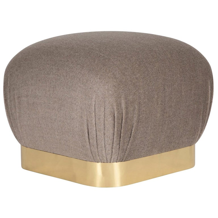 "Karl Springer ""Souffle Ottoman"" with Brass Base, 1970s For Sale"