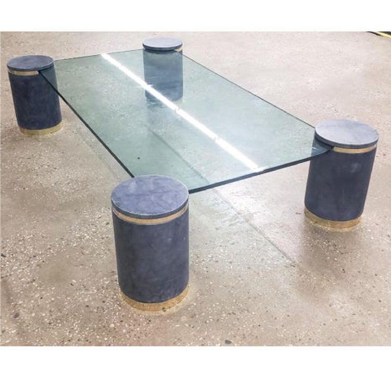 Mid-Century Modern Karl Springer Steel Blue Goatskin Floating Coffee Table, Brass Trim, 1987 For Sale