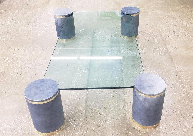 20th Century Karl Springer Steel Blue Goatskin Floating Coffee Table, Brass Trim, 1987 For Sale