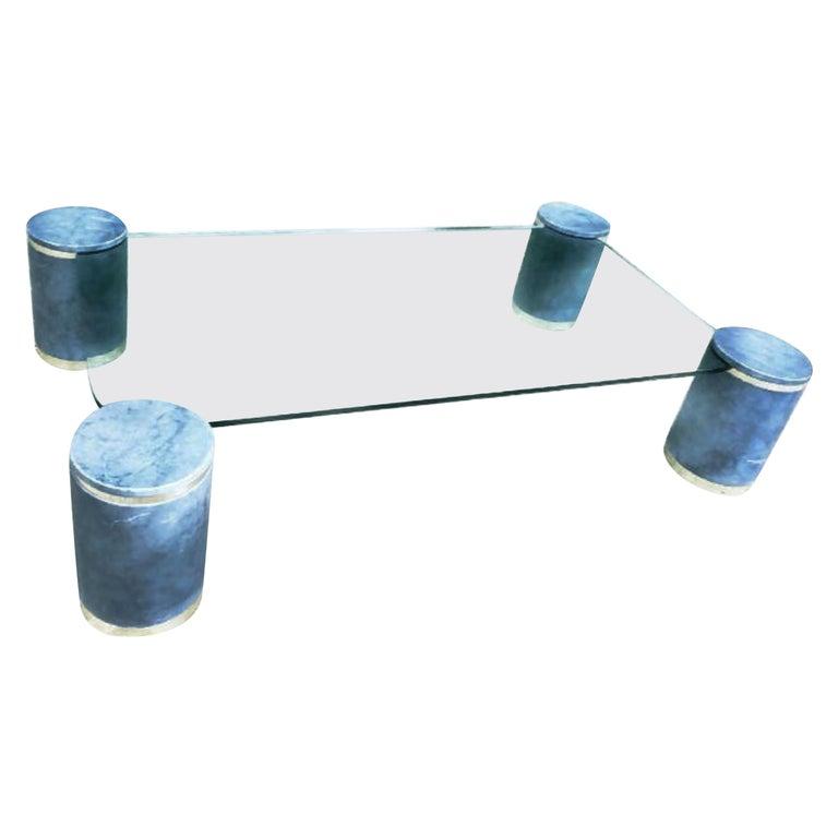 Karl Springer Steel Blue Goatskin Floating Coffee Table, Brass Trim, 1987 For Sale