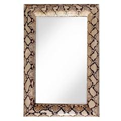 """Karl Springer Stunning """"Half Round Molding Mirror"""" in Python, 1987 """"Signed"""""""