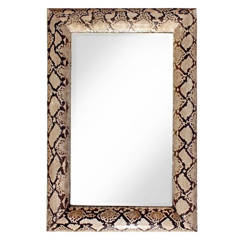 "Karl Springer Stunning ""Half Round Molding Mirror"" in Python, 1987 ""Signed"" For Sale"