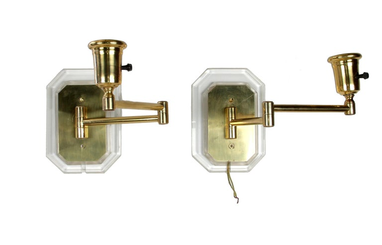 20th Century Karl Springer Style Acrylic and Brass Swing Wall Sconces, a Pair For Sale