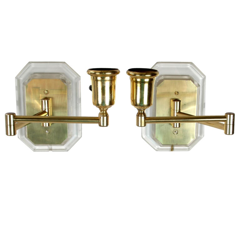 Karl Springer Style Acrylic and Brass Swing Wall Sconces, a Pair For Sale