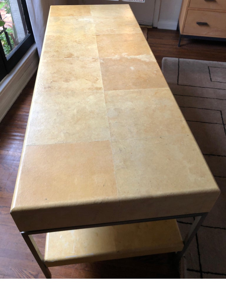 Karl Springer Style Art Deco Parchment Console Table /Credenza For Sale 4