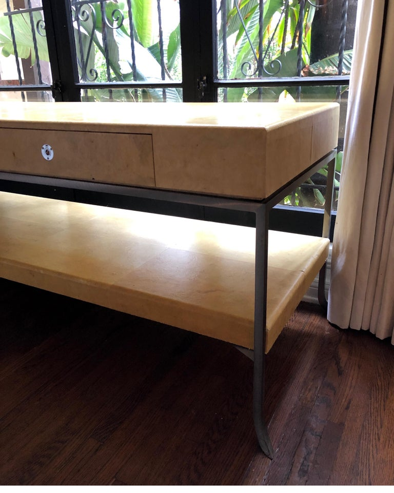 Italian Karl Springer Style Art Deco Parchment Console Table /Credenza For Sale