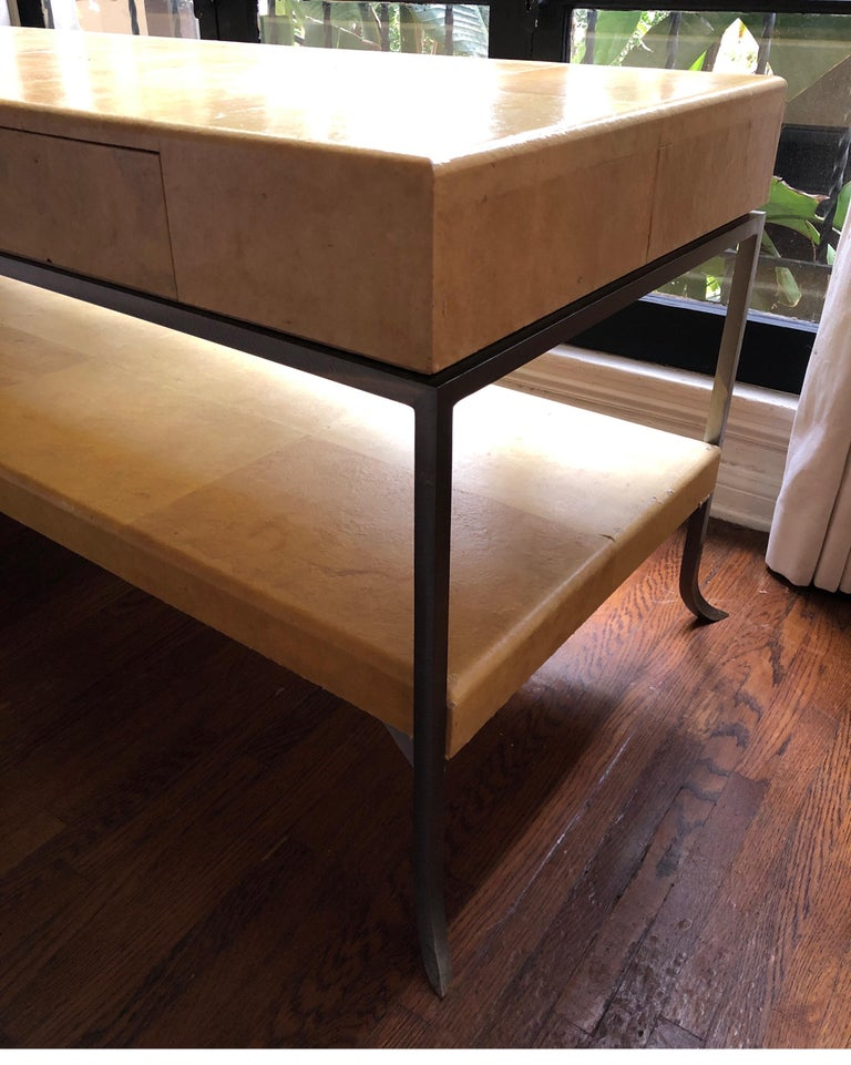 19th Century Karl Springer Style Art Deco Parchment Console Table /Credenza For Sale