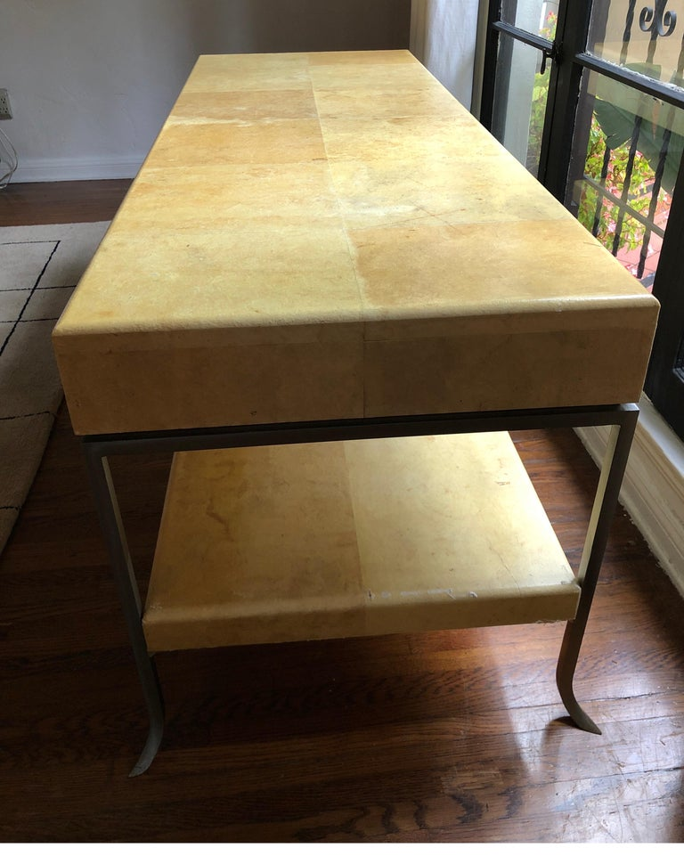 Steel Karl Springer Style Art Deco Parchment Console Table /Credenza For Sale