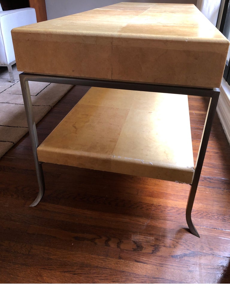 Karl Springer Style Art Deco Parchment Console Table /Credenza For Sale 1