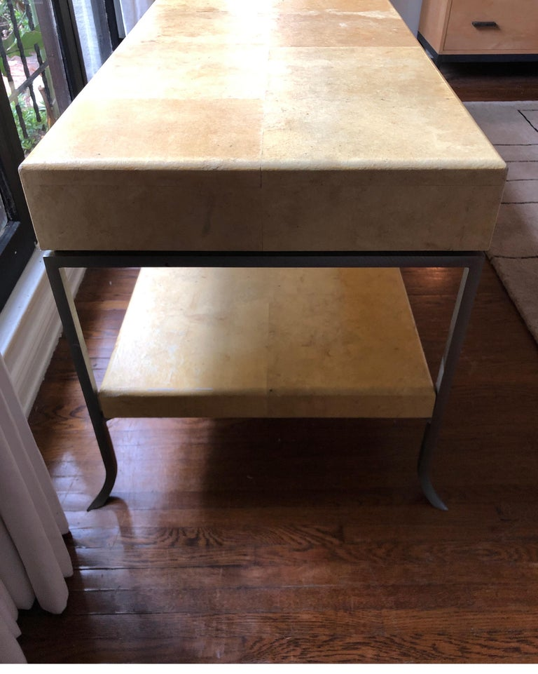 Karl Springer Style Art Deco Parchment Console Table /Credenza For Sale 2