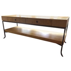 Karl Springer Style Art Deco Parchment Console Table /Credenza