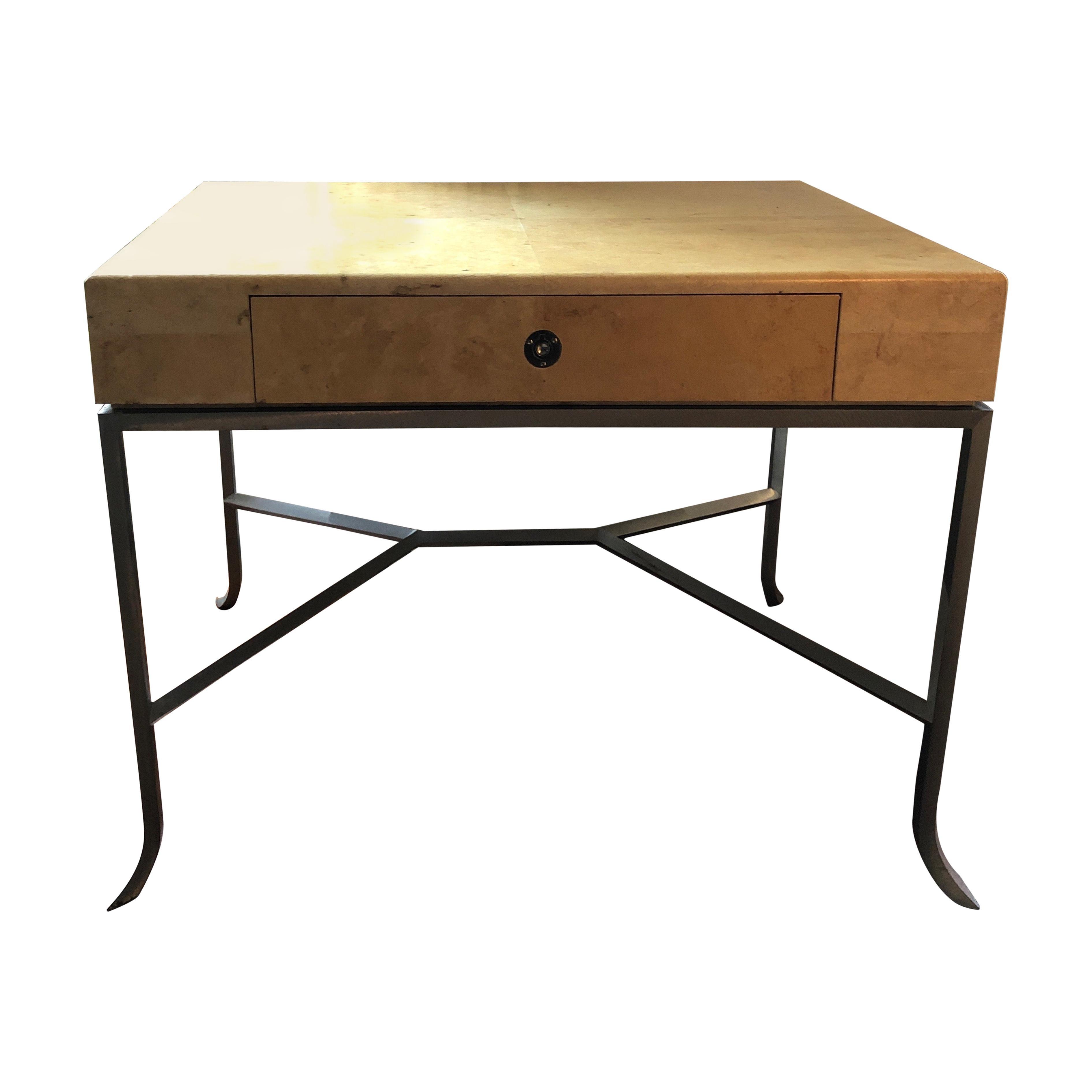 Karl Springer Style Art Deco Parchment Side Table