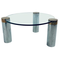 Karl Springer Style Chrome and Patinated Brass with Glass Top Coffee Table