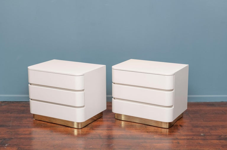 American Karl Springer Style Contemporary Nightstands For Sale