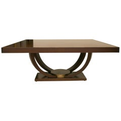 Karl Springer Style Custom Mahogany Dining Table with Gilt Peripheral Banding