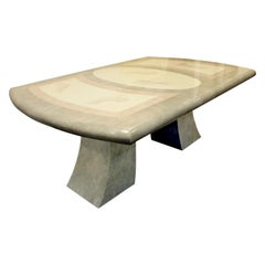 Karl Springer Style Extension Dining Table with Artisan Faux Goatskin, 1980s