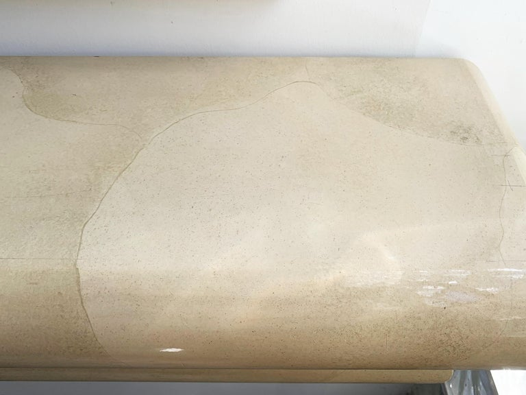 Faux Goatskin Mirror and Console In Good Condition For Sale In Los Angeles, CA