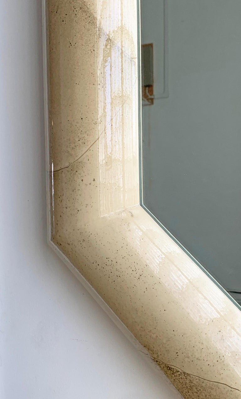 Late 20th Century Faux Goatskin Mirror and Console For Sale