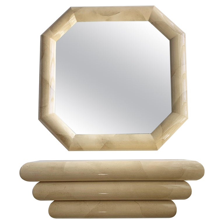 Faux Goatskin Mirror and Console For Sale
