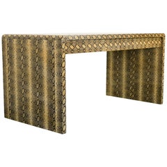 "Karl Springer Style Faux Leather ""Python"" Desk, 1980s"