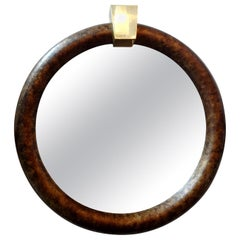 Karl Springer Style Faux Tortoise Shell Mirror